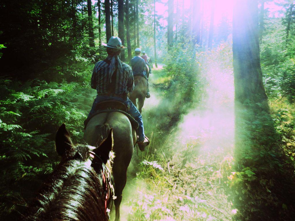On horseback at Ensign Ranch